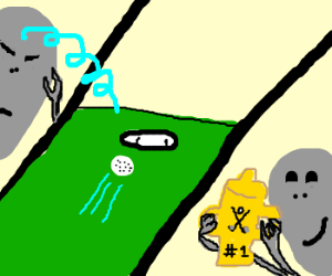 Alien uses telekinesis to win mini golf