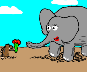 lady elephant gets flowers from mouse.
