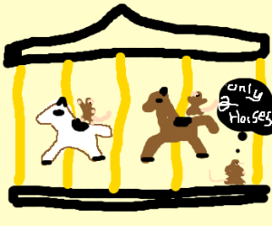 Three rats riding a merry-go-round.