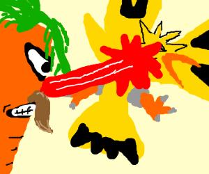 Lazer moustache carrot shoots Zapdos