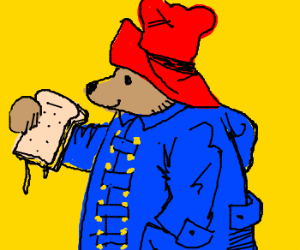 Paddington bear eats a sandwich
