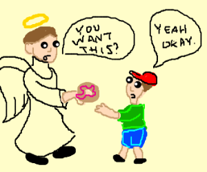 angel offers donut to boy
