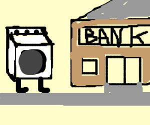 Washing machine going to the bank.