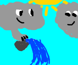 2 clouds dump water from bucket grinning