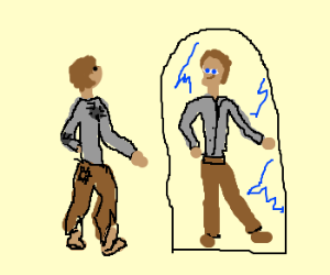 Man's torn clothes look new in mirror.