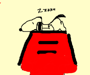 Snoopy lying on his red dog house