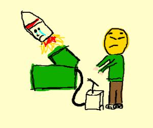 Kim-JongUn fires rocket, rocket cries