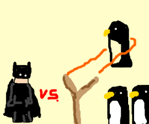 Kid Batman vs. Angry Penguin.