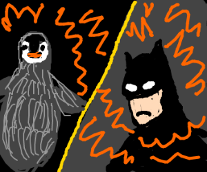 Penguin face explodes into batman.