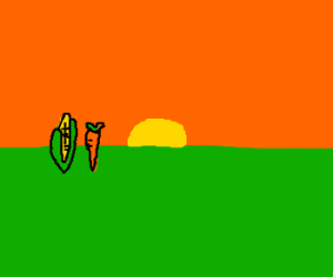 Carrot and corncob ride off in sunset.