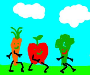 carrot, apple and brocoli take a stroll