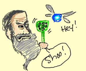 gray-bearded man swats at Navi the fairy