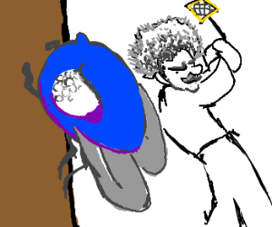 Einstein swats one eyed blue fly