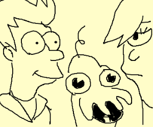 Fry and Leela raising a baby Zoidberg.