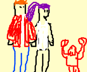 Fry & Leela adopt stoned baby zoidberg