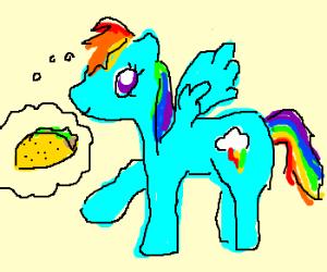 Rainbow horse wants taco