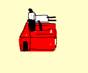 how to draw snoopy on his doghouse