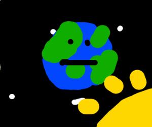 Earth keeps his pokerface,when sun earth