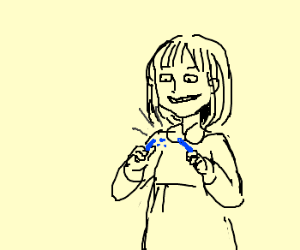 Girl excited about breaking blue chalk