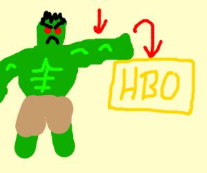 Blind hulk smashes HBO logo