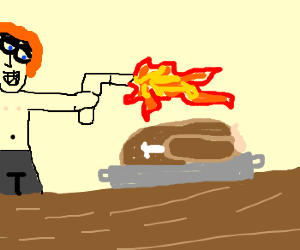 Man tries to set fire to stuffed turkey