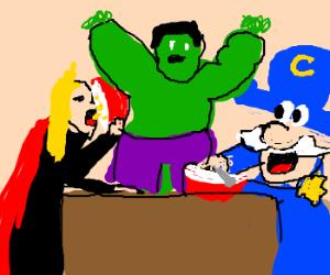 Thor vs Captain eating contest-Hulk wins