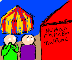 Accident at circus: human cannon malfunc
