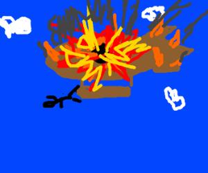 Man in exploded blimp