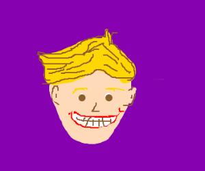 Blonde kid has giant grin.