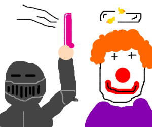 Knight hits clown with dildo