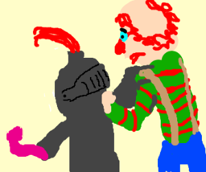 Knight beats up clown with pink dildo