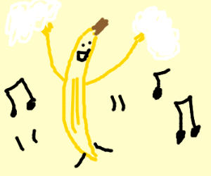 Banana holding clouds dances to music