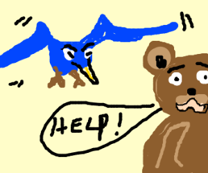 Bluebird attacks Pedobear in disgust