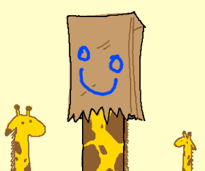 giraffe has a paper bag on its head