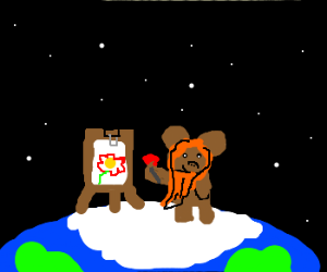 Ewok painter is on top of the world.
