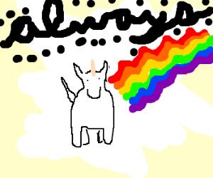 unicorn always leaves rainbow waves