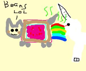 nyan cat farting on a unicorn