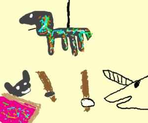 Piñata between Nyan Cat and Unicorn