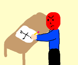 Angry redfaced man draws a compass