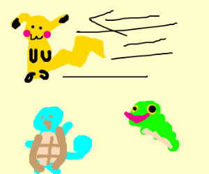 Pika-flash,Captain Squirtle,TMNCaterpie
