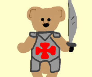 teddy bear in armour & holding sword