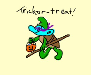 Smurf wearing a TMNT halloween costume