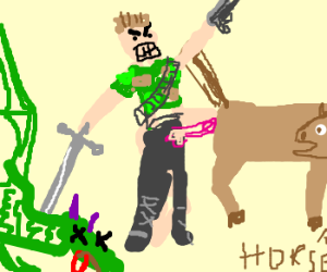 angry soldier humping horse+slay dragon