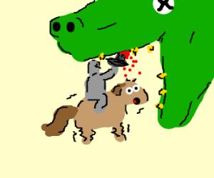 man kills dragon, pony looks surprised