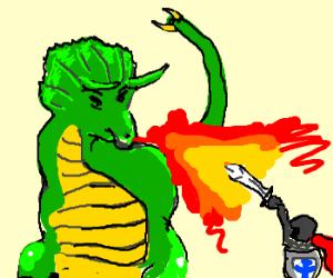Triceratops dragon vs. tiny knight
