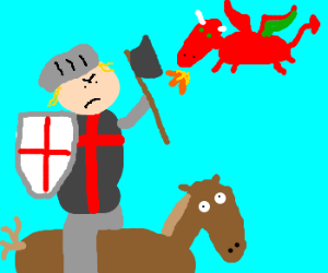 Knight on startled horse fighting dragon