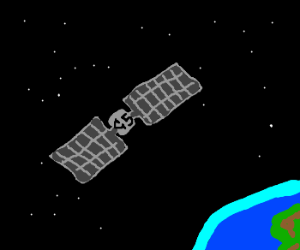 orbiting satellite for space channel 5