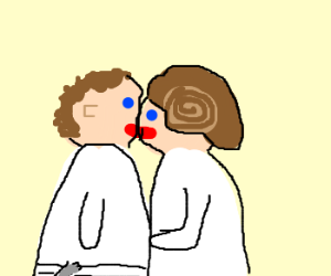 Luke kisses Leia