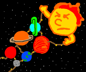 The sun reigning over all the planets