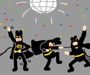 3 Disco dancing batman clones.
